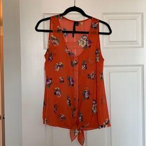 Orange floral tie-front blouse- M